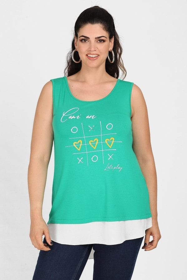 Sleeveless top with logo and shirt details