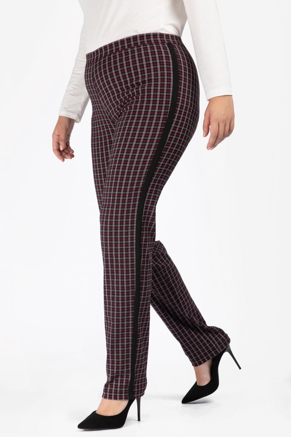 Treggings in vichy pattern with monochrome stripe on the side