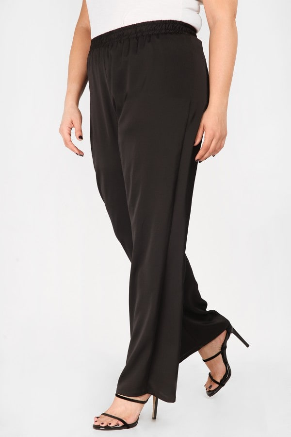 Satin wide leg trousers with elastic waistband