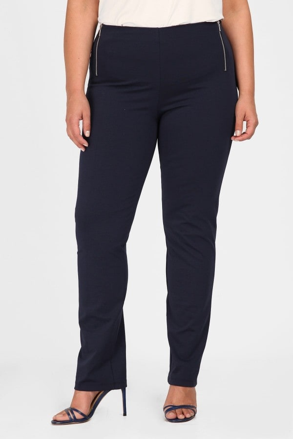 Office trousers with zippers on the side