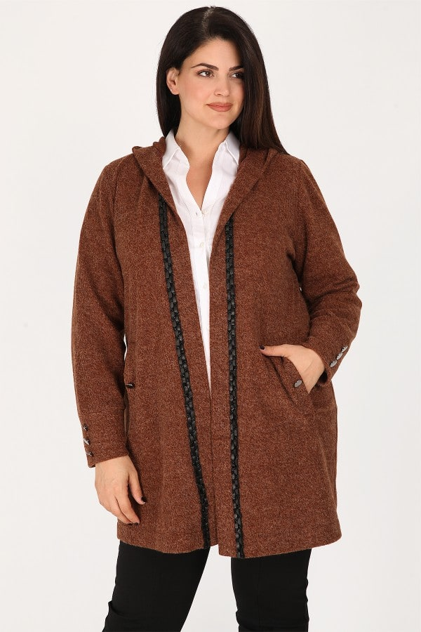Melange knit cardigan with leather like details