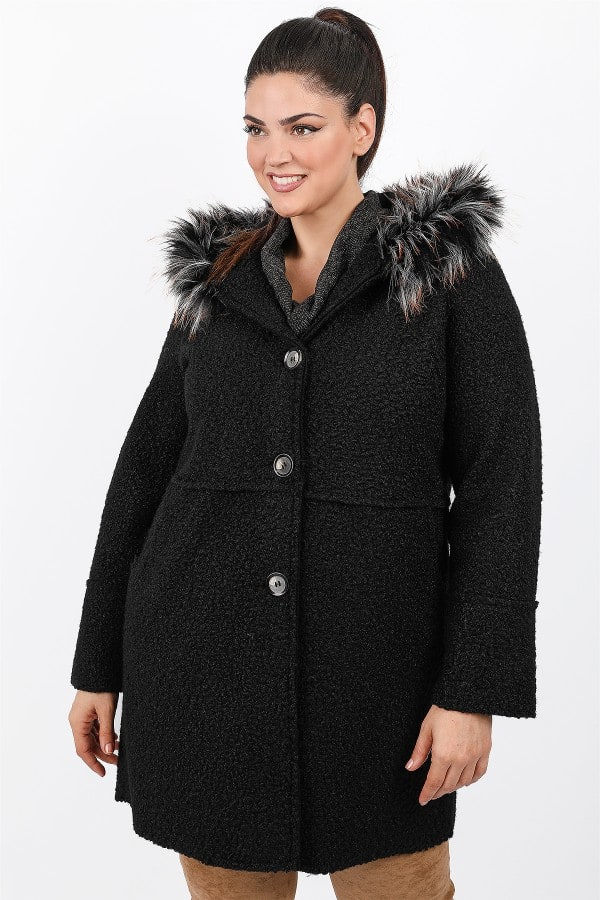 Nubby coat with faux fur on the hood