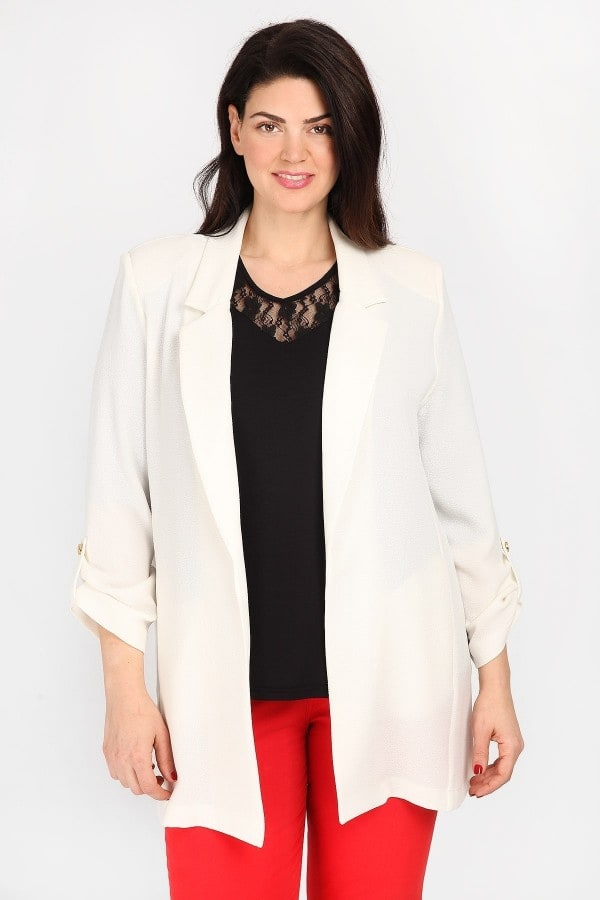 Longline blazer with roll-up sleeves