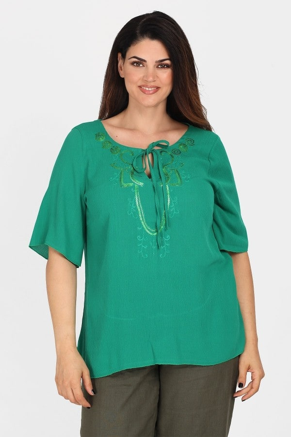 Viscose tunic with embroidery and sequins