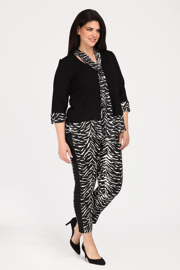 Leopard stretch trousers with stripe on the side