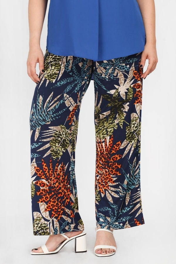 Super jersey patchwork tropical print trousers