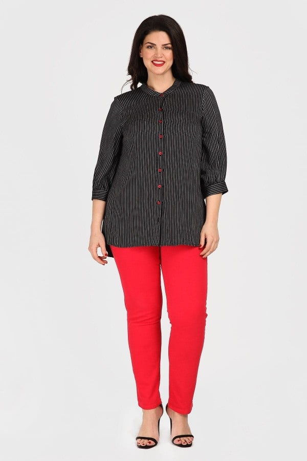 Shirt with stripe pattern and mao neck