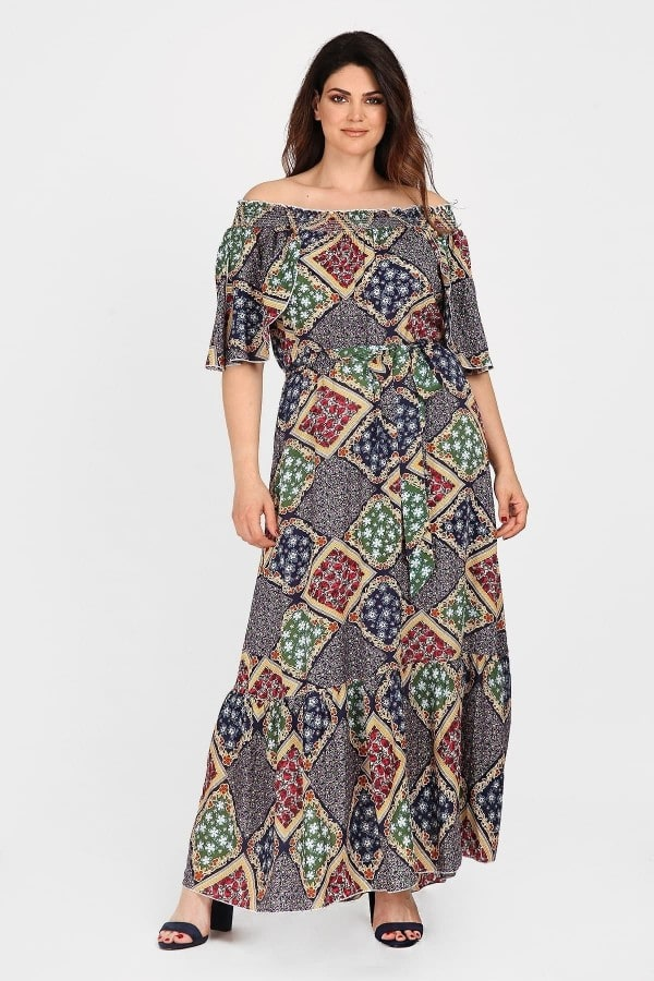 Printed off-shoulder maxi dress