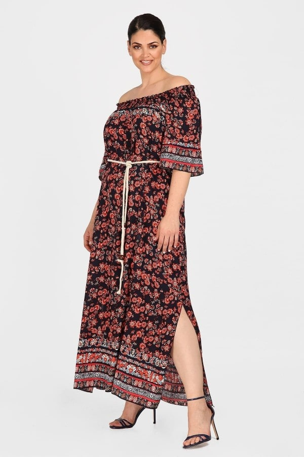 Off-shoulder midi dress with ruffles