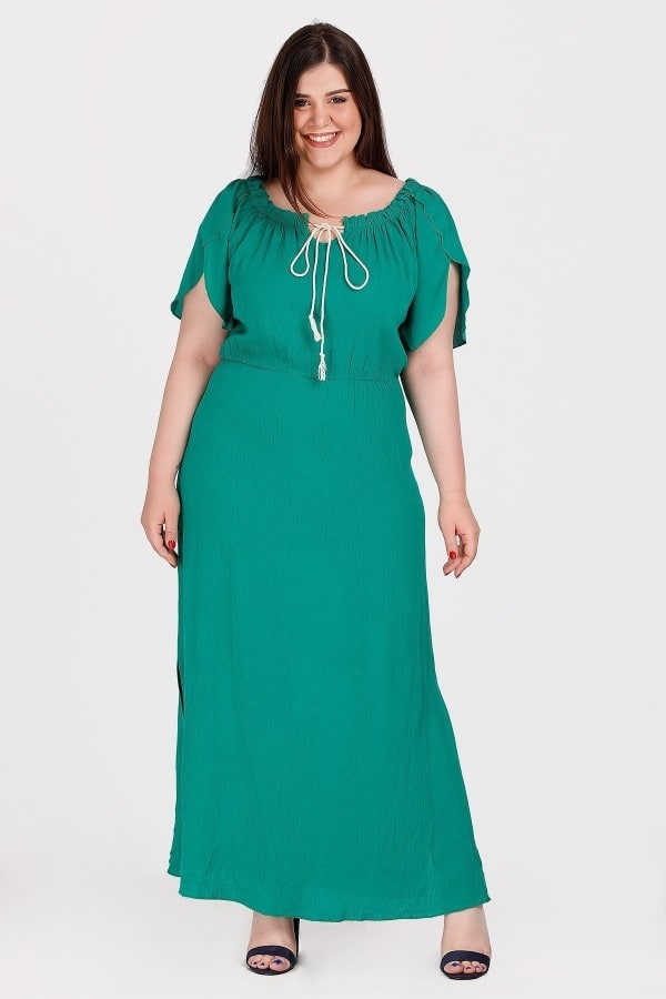 Maxi dress off-shoulder with ties