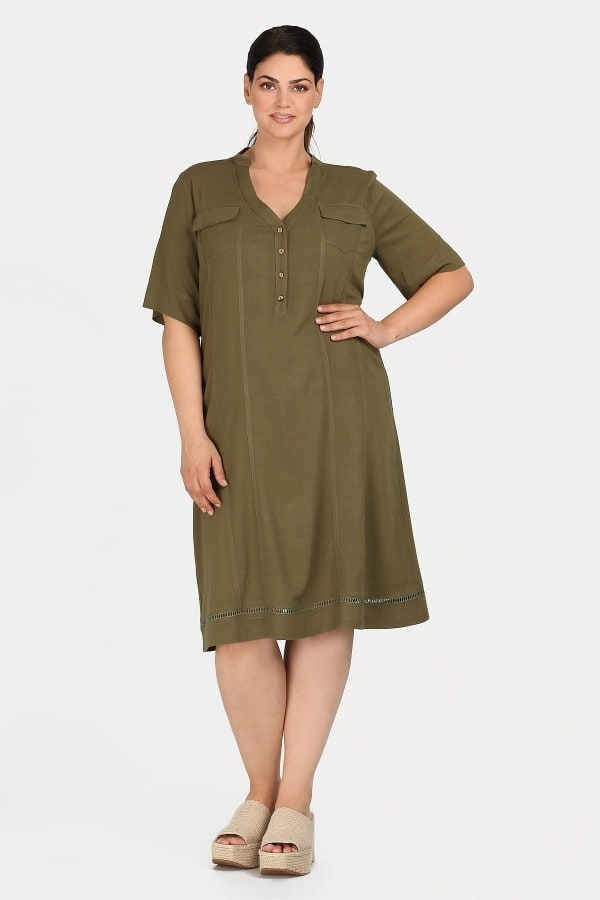 Midi broderie shirt-style dress