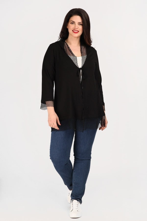 Cardigan with net details