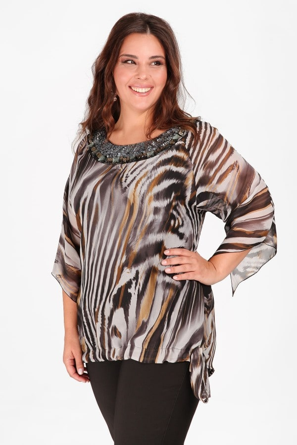 Evening printed blouse with embroidery on the V