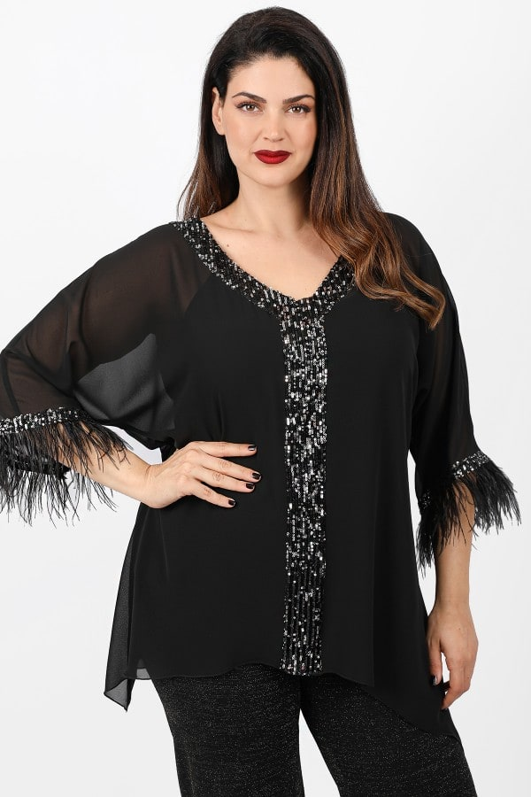 Evening tunic with sequins and feathers