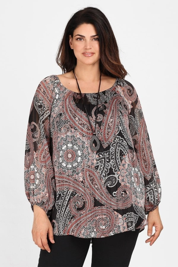 Printed lurex top with elastic neck