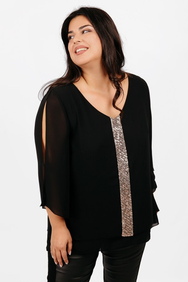 Evening blouse from georgette with sequins