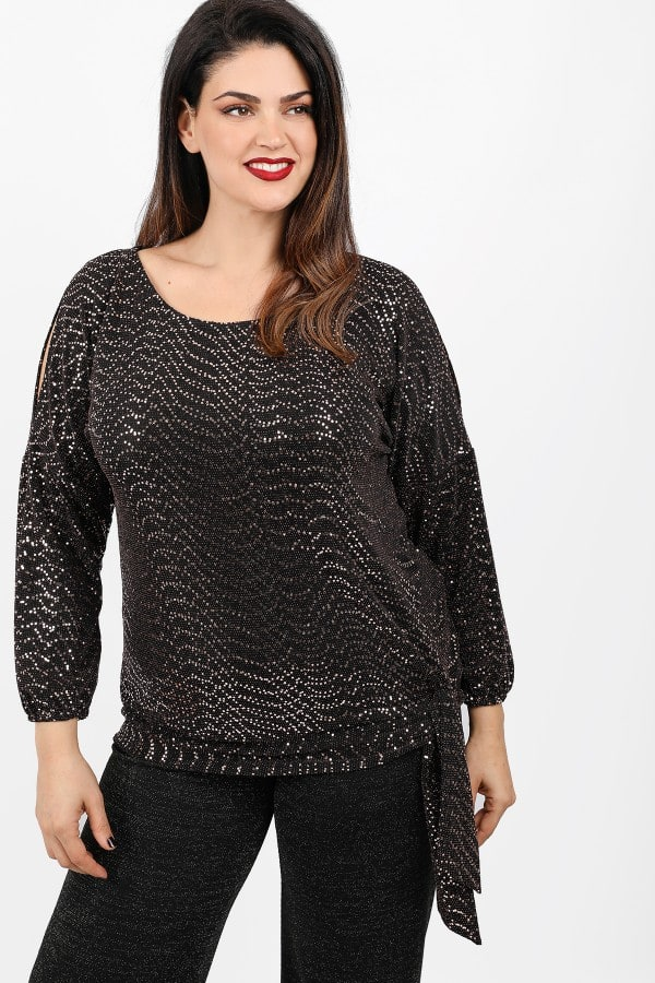 Lurex blouse with strass