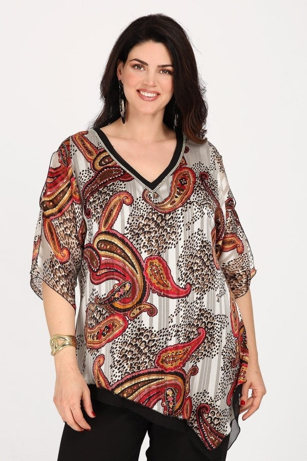 Evening blouse with silver V and paisley pattern