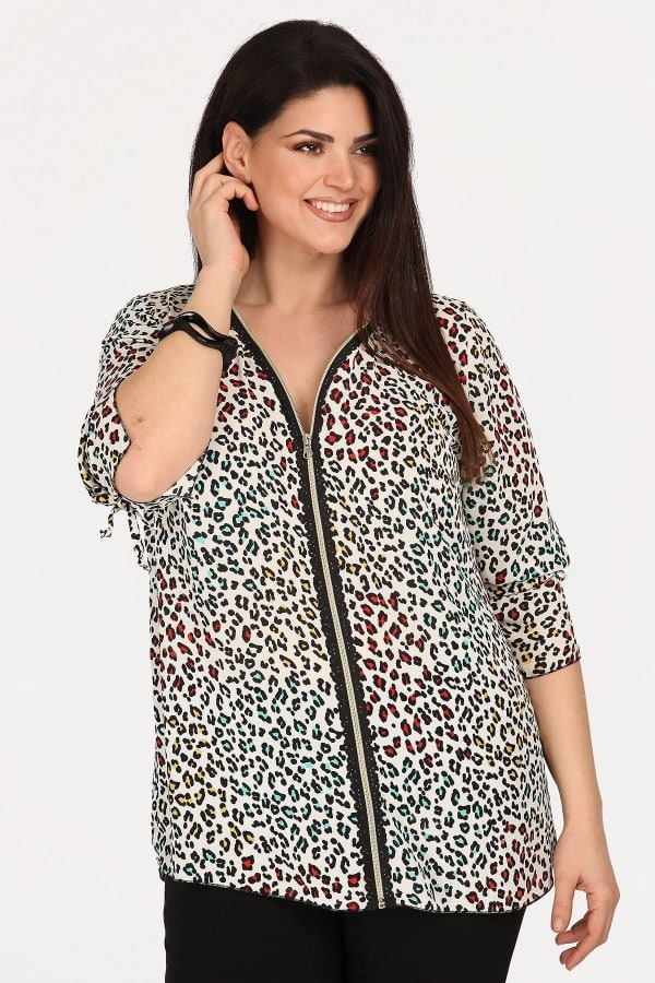 Evening leopard shirt with zipper