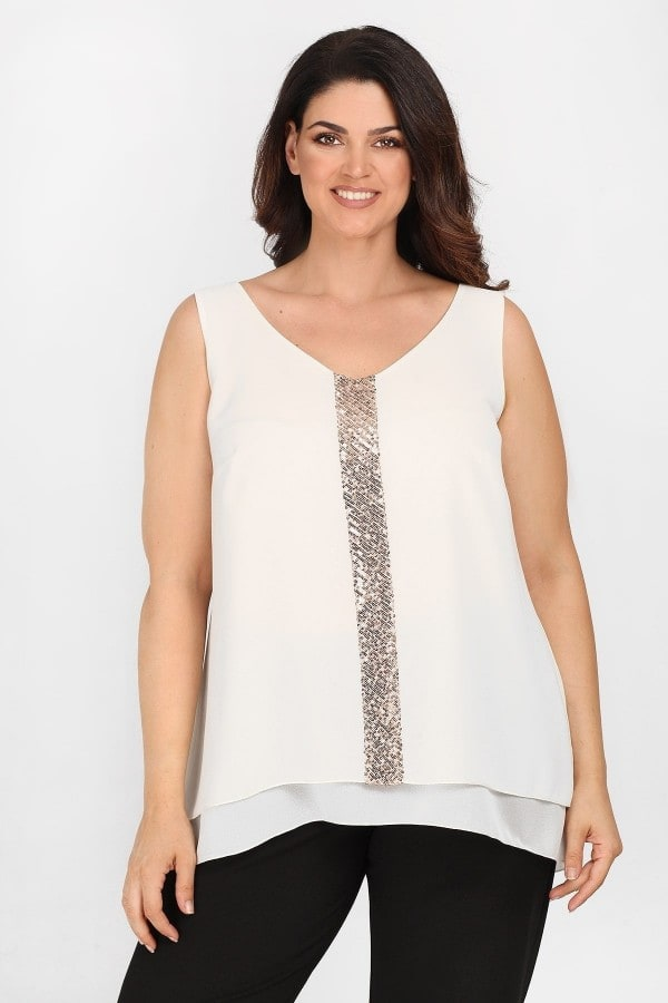 Evening sleeveless shirtblouse with sequins stripe