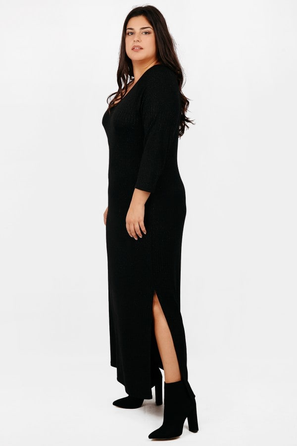 Maxi rib knit dress with lurex