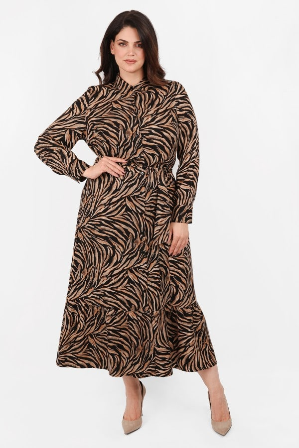 Animal printed maxi dress shirt style with ruffled hem