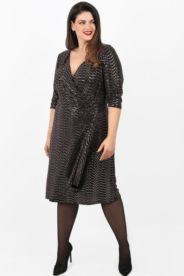 Midi lurex wrap dress with strass