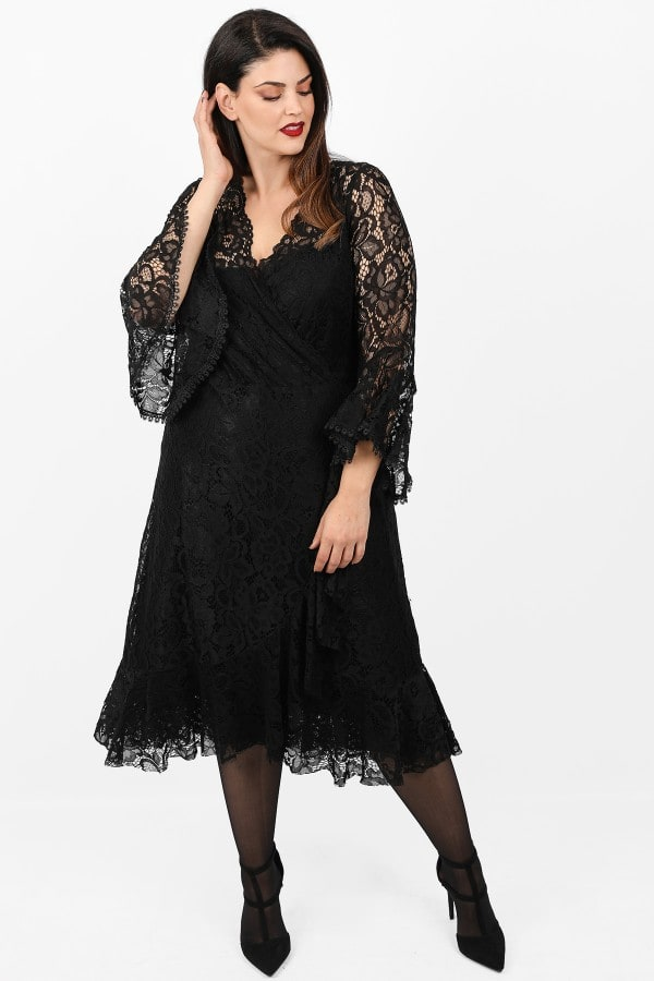 Midi wrap dress from lace
