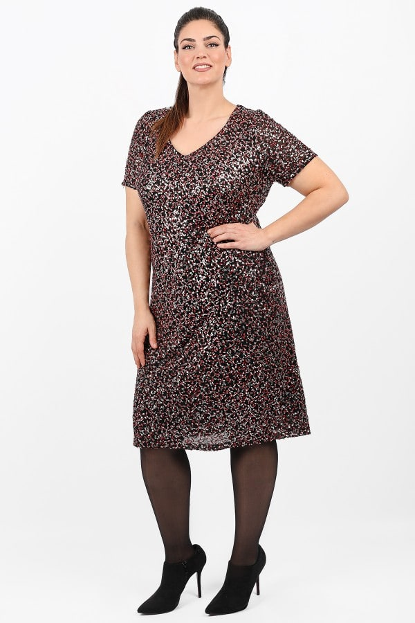 Midi dress from elastic sequins