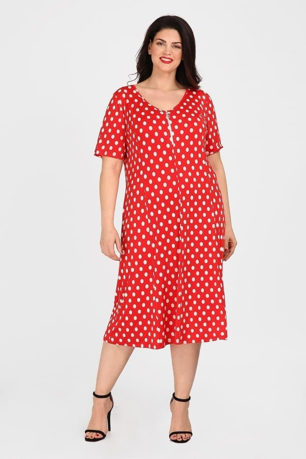 Polka dots midi dress from super jersey and zip on the V