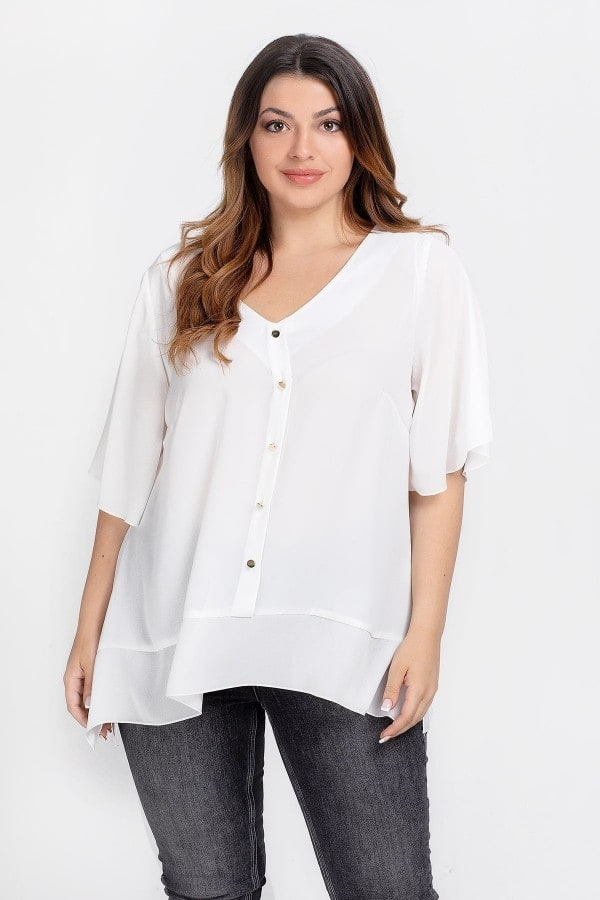 Shirtblouse with buttons and georgette