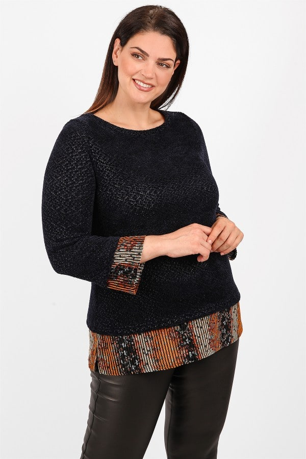 Rib velveteen knit blouse with printed hem