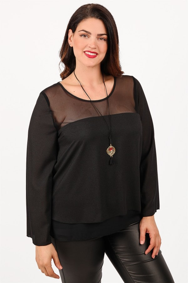 Blouse with georgette detail and mesh