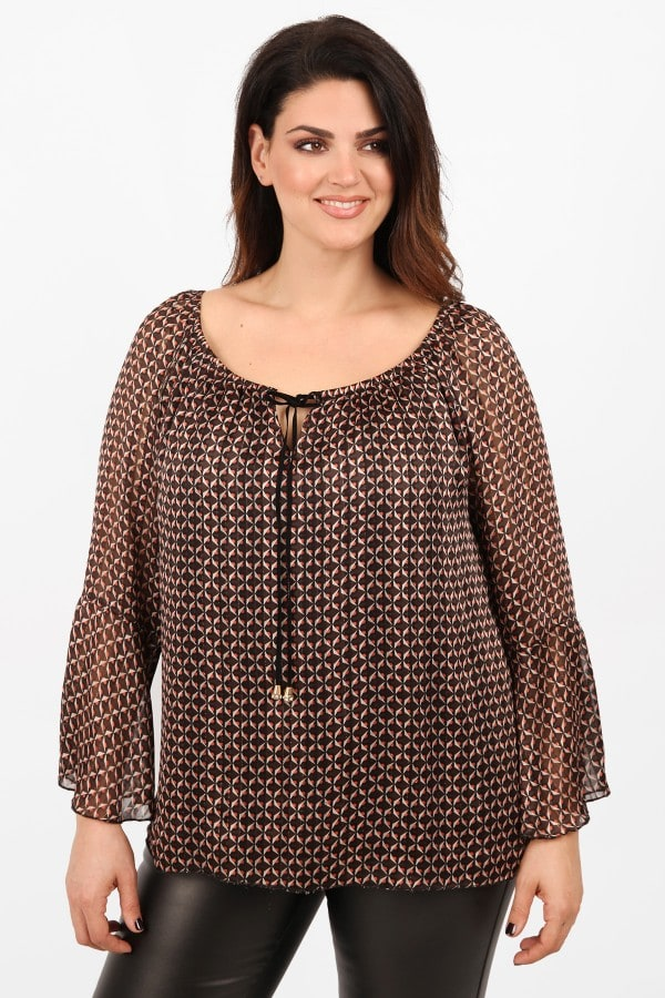 Printed blouse with ties on the neck and bell sleeves