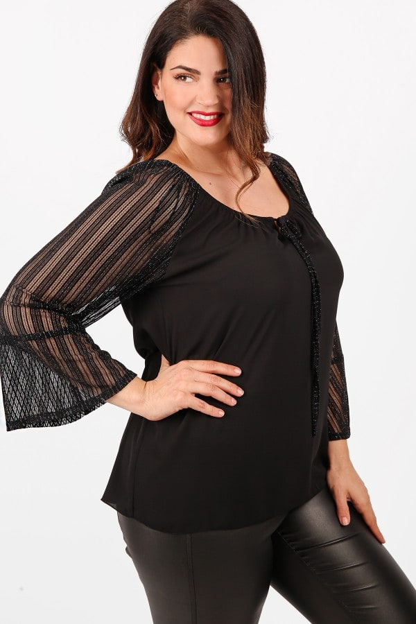 Blouse with lurex sleeves from mesh