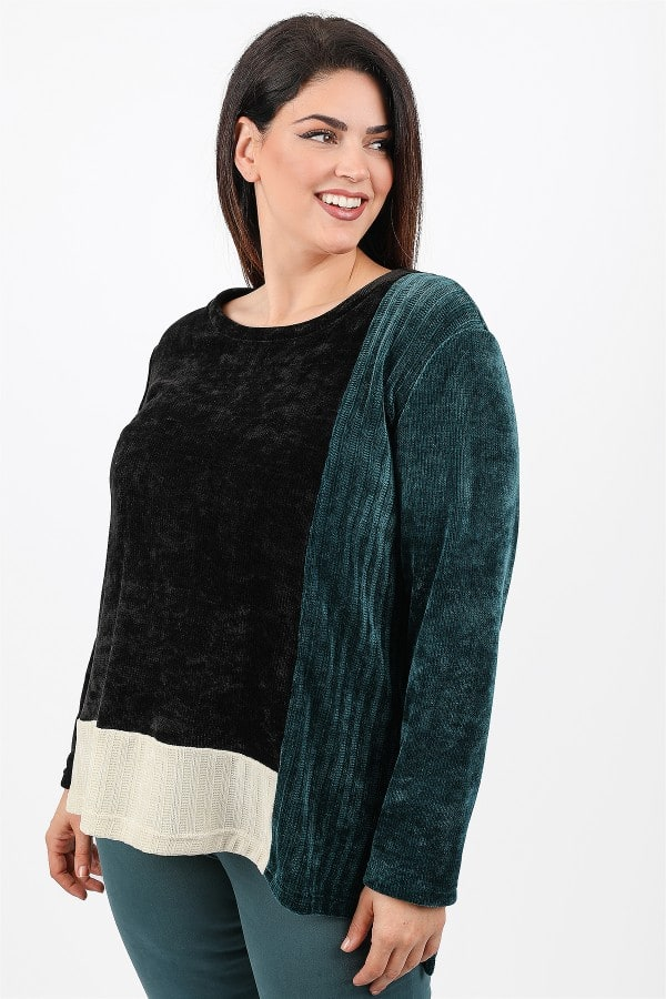 Knit blouse in colorblock
