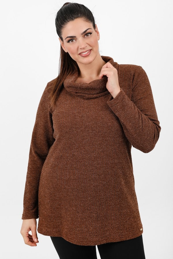 Wool knit lurex roll down neck blouse