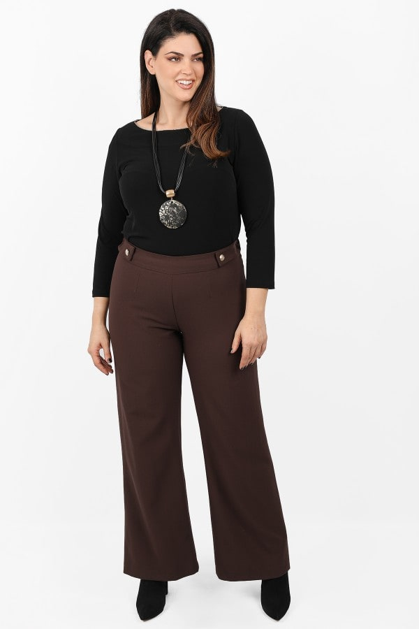 Wide leg trousers with pleats and decorative buttons