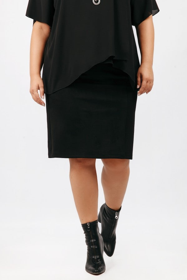 Pencil skirt from suede