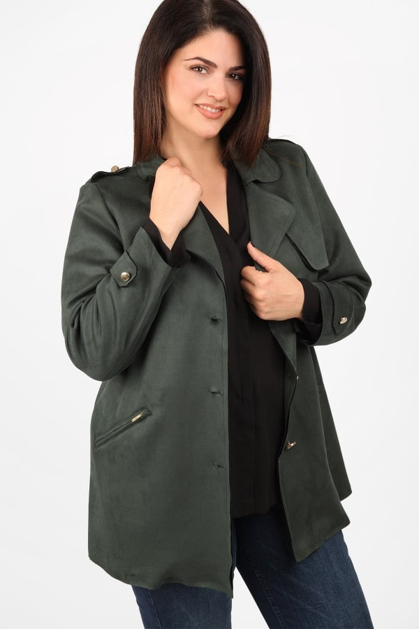 Suede longline jacket with draped lapel