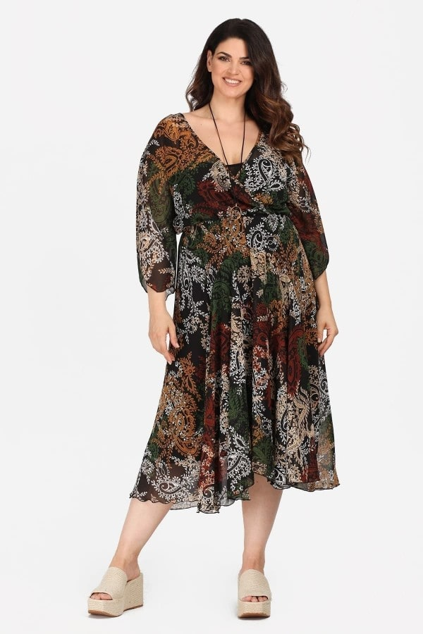Midi wrap printed dress