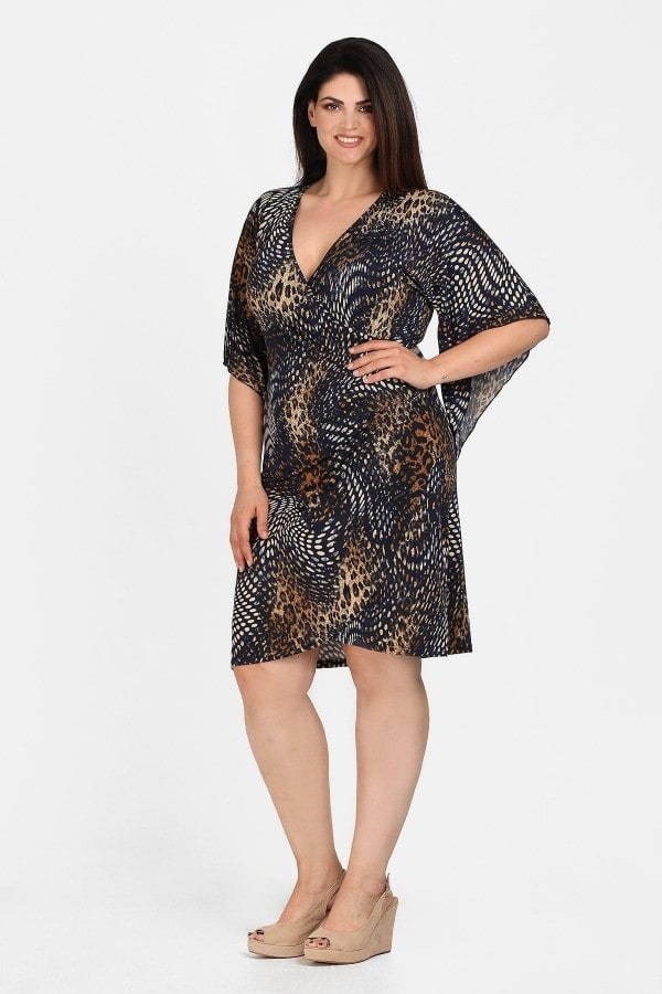 Midi wrap animal printed dress