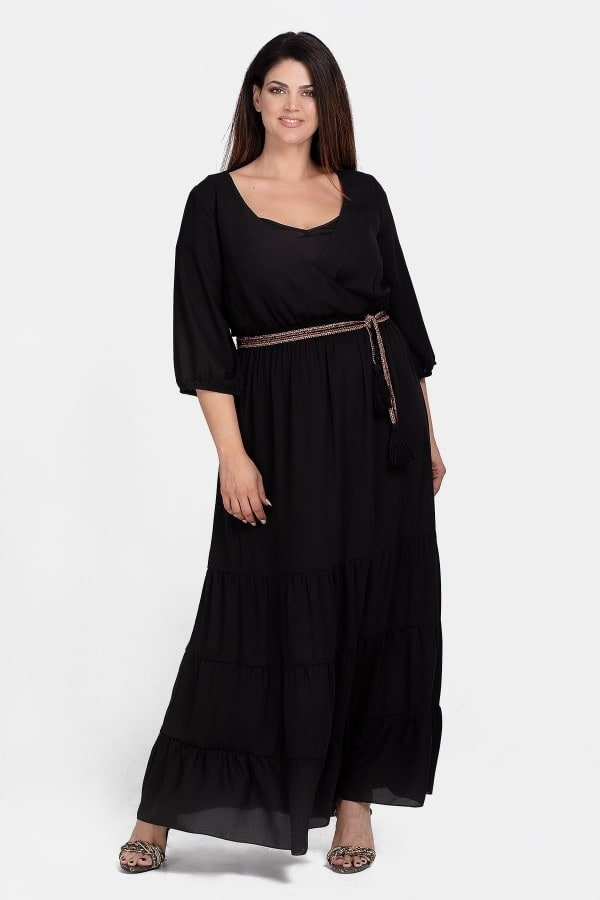 Maxi wrap dress with ruffled hem
