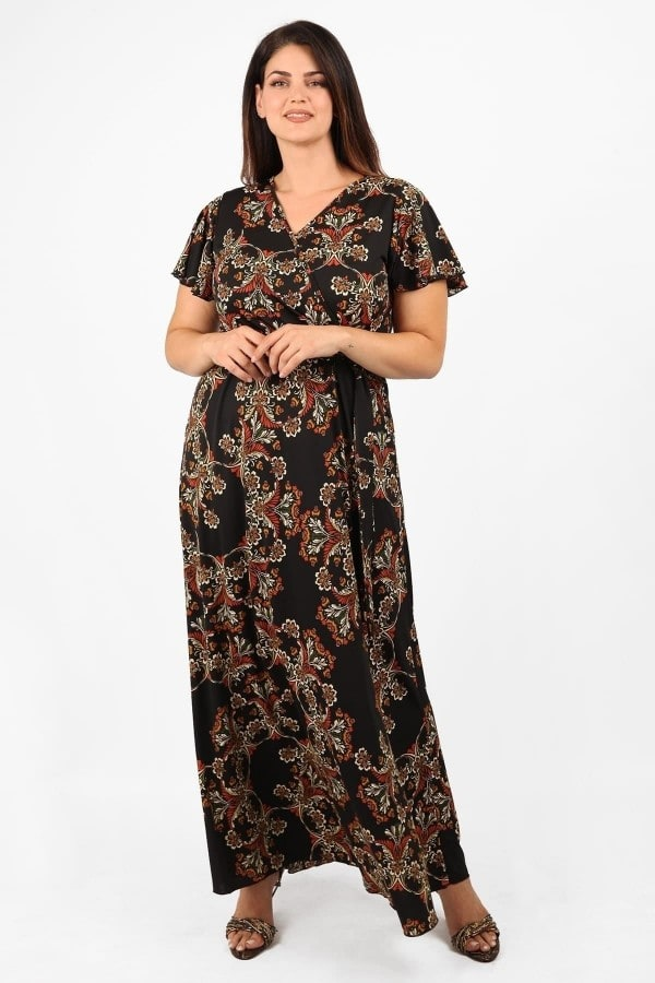 Maxi printed wrap super jersey dress