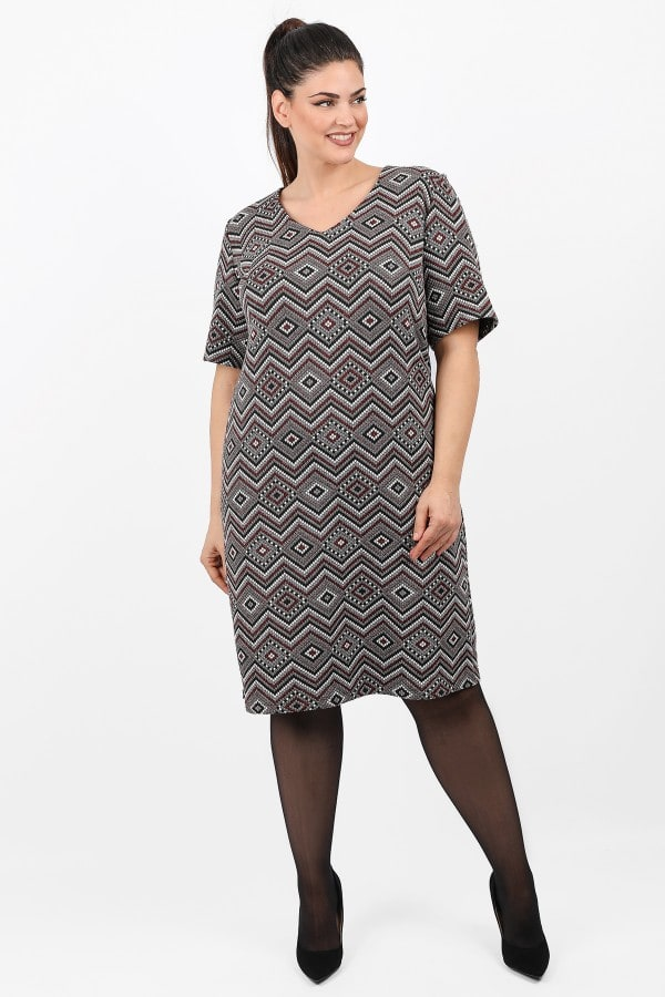 Printed shortsleeved midi dress