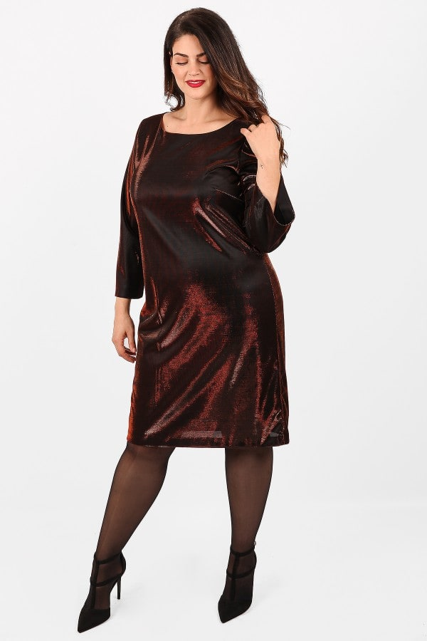 Metallic view midi dress
