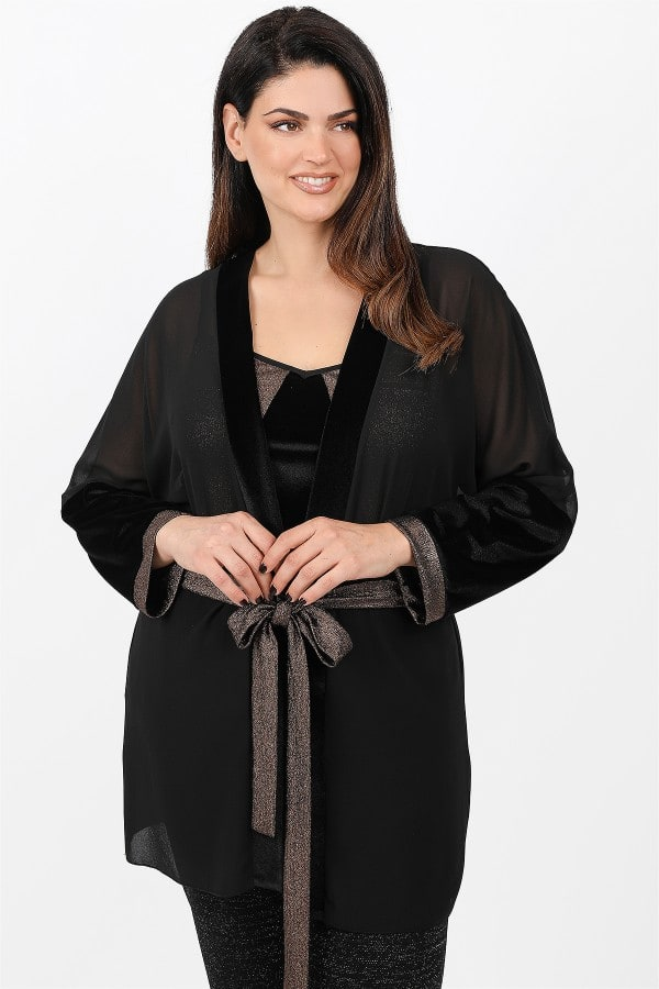 Evening set kimono and top from metallic and velveteen