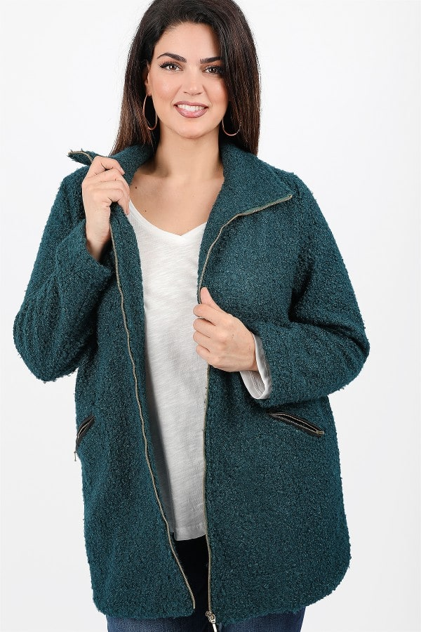 Nubby coat with zipper
