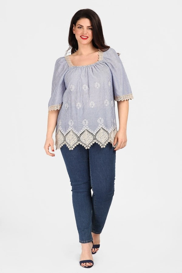 Striped blouse with broderie details