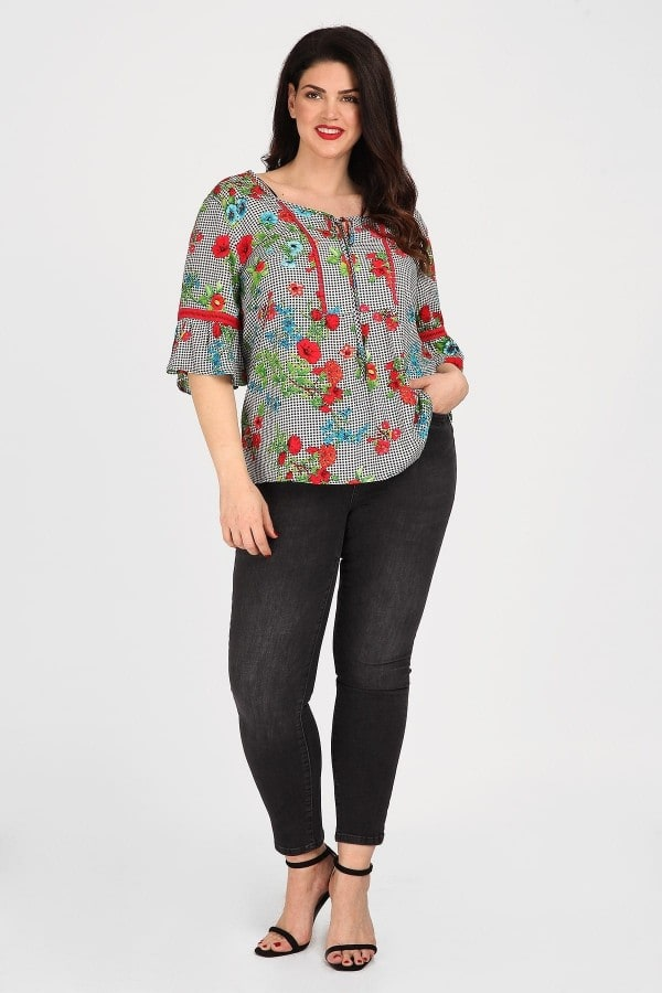 Empire blouse in patterns combination vichy and floral